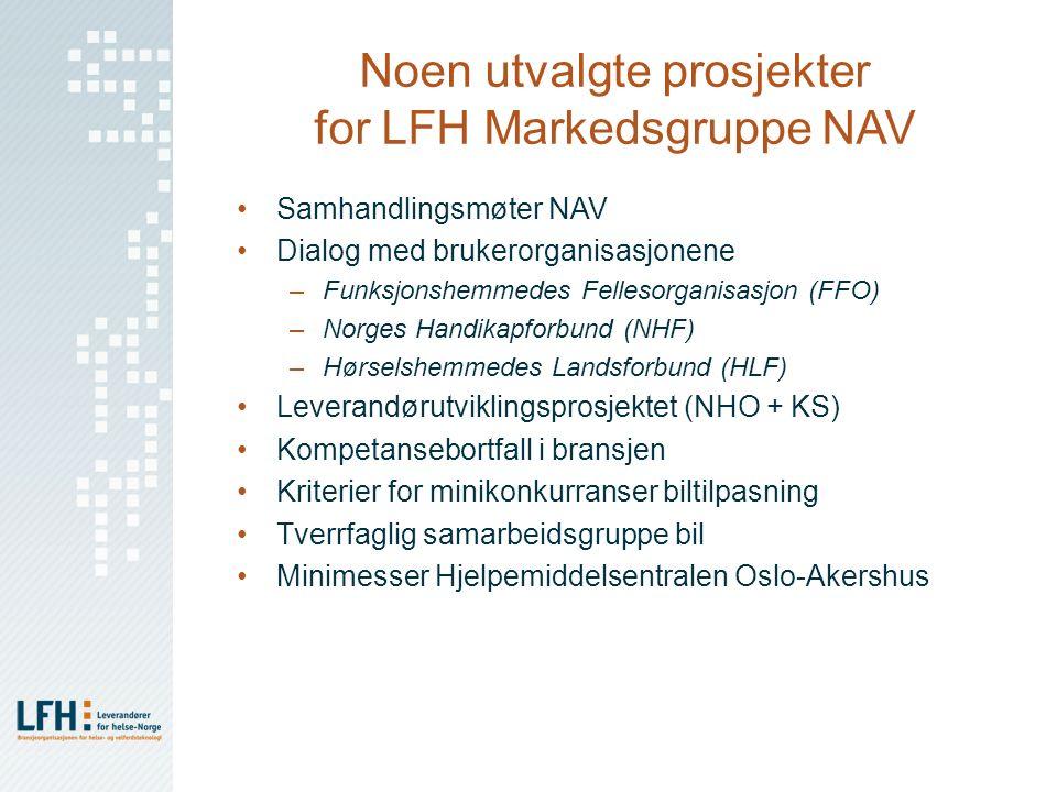 Noen utvalgte prosjekter for LFH Markedsgruppe NAV Samhandlingsmøter NAV Dialog med brukerorganisasjonene –Funksjonshemmedes Fellesorganisasjon (FFO)