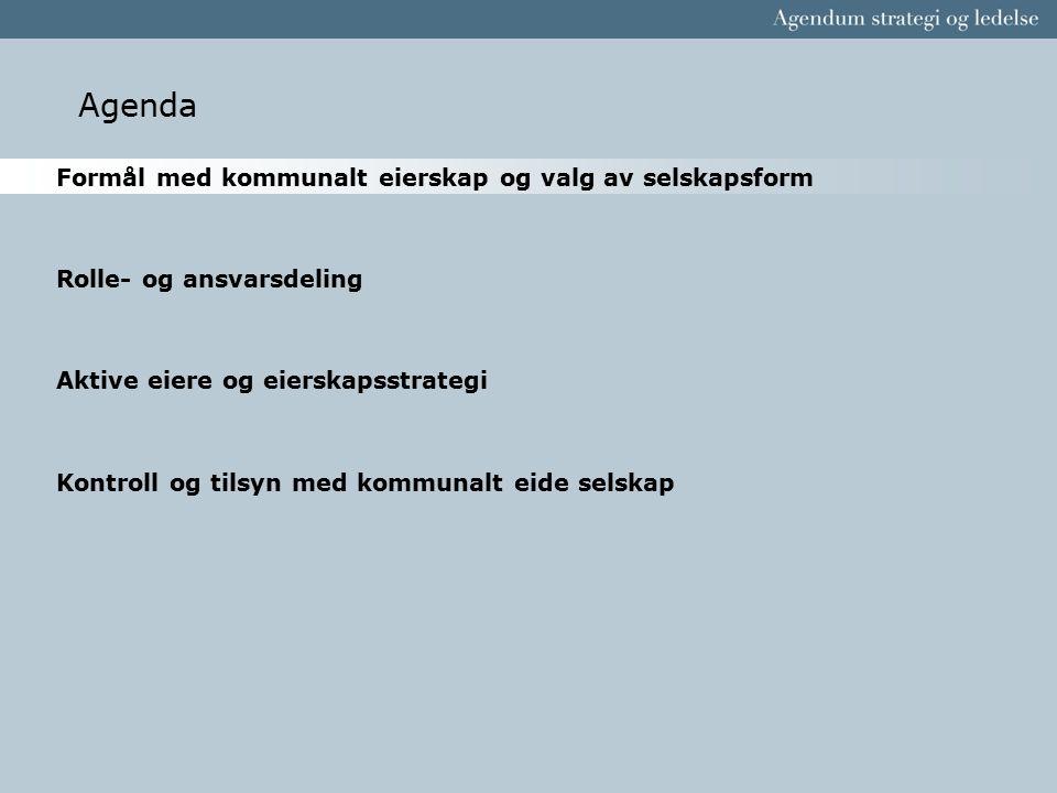Agenda Formål med kommunalt eierskap og valg av selskapsform Rolle- og ansvarsdeling Aktive eiere og eierskapsstrategi Kontroll og tilsyn med kommunal