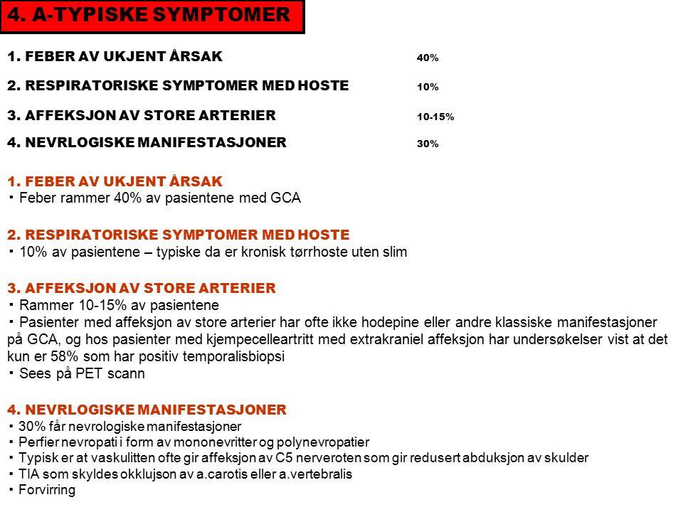1. FEBER AV UKJENT ÅRSAK 40% 2. RESPIRATORISKE SYMPTOMER MED HOSTE 10% 3.