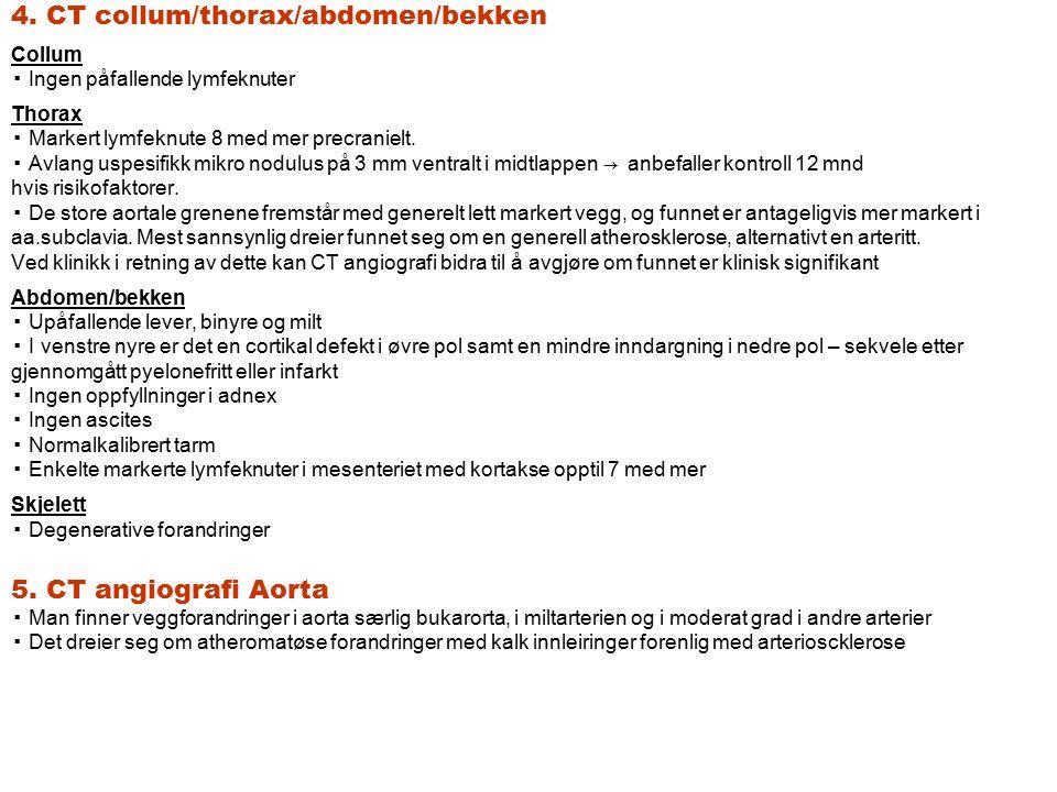 4. CT collum/thorax/abdomen/bekken Collum ▪ Ingen påfallende lymfeknuter Thorax ▪ Markert lymfeknute 8 med mer precranielt. ▪ Avlang uspesifikk mikro