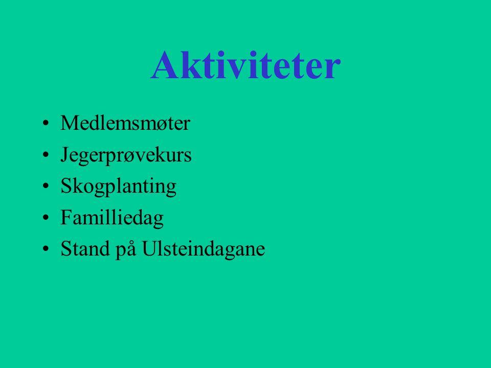 Aktiviteter Medlemsmøter Jegerprøvekurs Skogplanting Familliedag Stand på Ulsteindagane