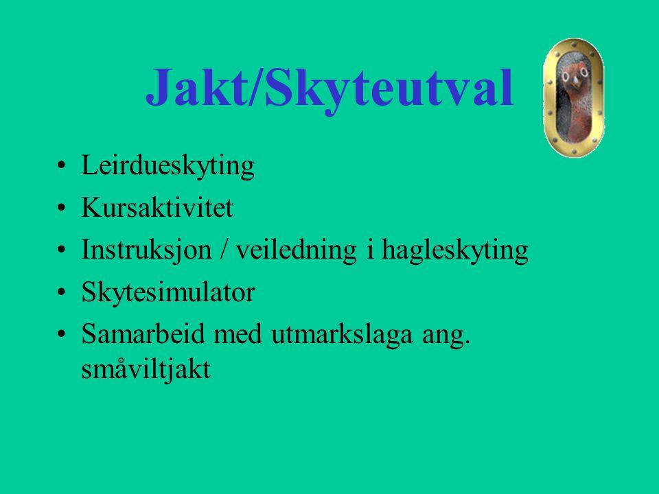 Jakt/Skyteutval Leirdueskyting Kursaktivitet Instruksjon / veiledning i hagleskyting Skytesimulator Samarbeid med utmarkslaga ang. småviltjakt