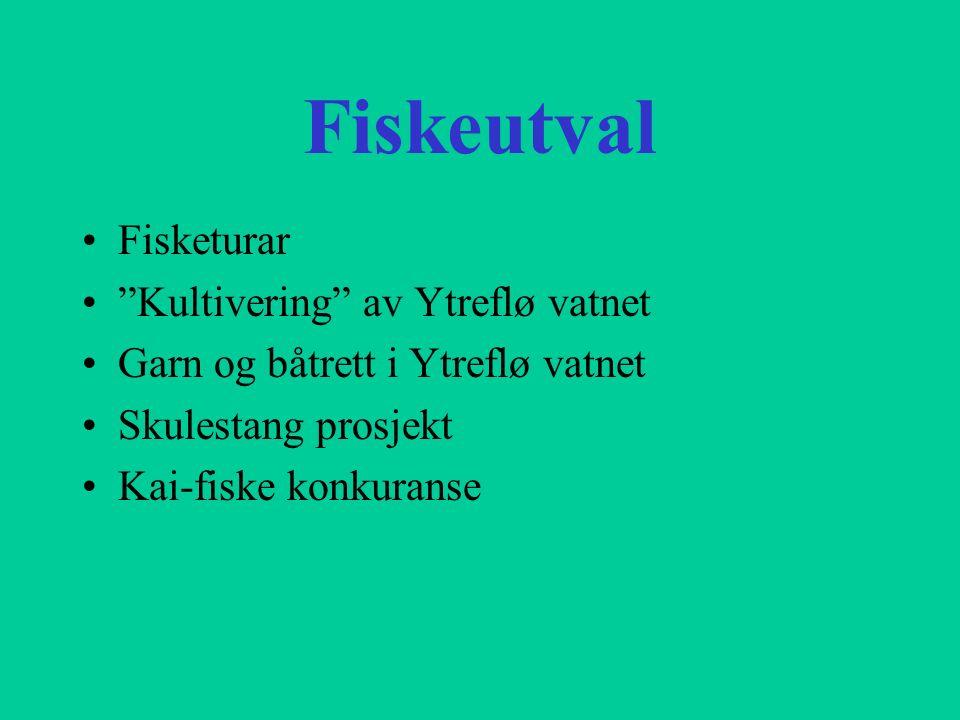 """Fiskeutval Fisketurar """"Kultivering"""" av Ytreflø vatnet Garn og båtrett i Ytreflø vatnet Skulestang prosjekt Kai-fiske konkuranse"""