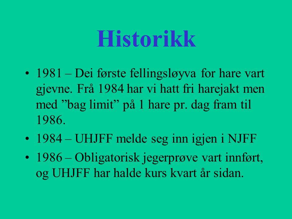 """Historikk 1981 – Dei første fellingsløyva for hare vart gjevne. Frå 1984 har vi hatt fri harejakt men med """"bag limit"""" på 1 hare pr. dag fram til 1986."""