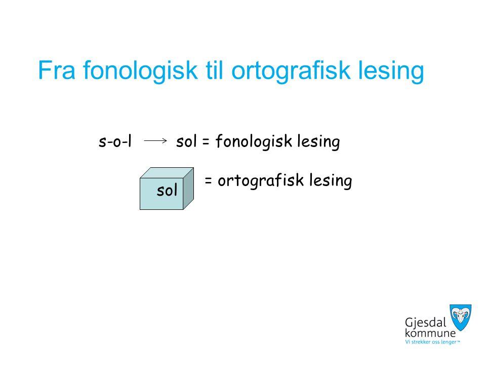 Fra fonologisk til ortografisk lesing s-o-l sol = fonologisk lesing = ortografisk lesing sol