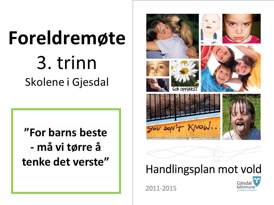 Foreldremøte 3. trinn Skolene i Gjesdal For barns beste - må vi tørre å tenke det verste