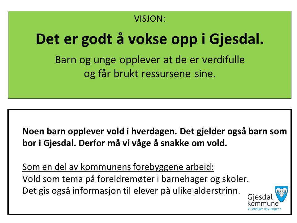Handlingsplan mot vold i Gjesdal Sette søkelys på: Innbyggere og ansatte i Gjesdal skal ha forståelse for at vold kan skje i nærområdet og med barn og familier de kjenner.