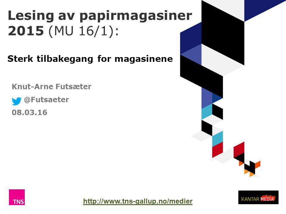 Lesing av papirmagasiner 2015 (MU 16/1): Sterk tilbakegang for magasinene TNS Gallup Knut-Arne Futsæter @Futsaeter 08.03.16 http://www.tns-gallup.no/medier