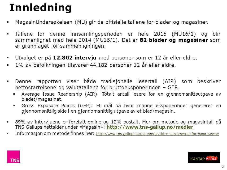 3  MagasinUndersøkelsen (MU) gir de offisielle tallene for blader og magasiner.