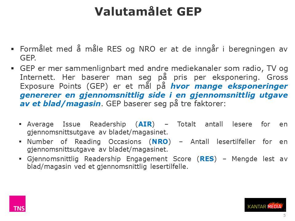 5 Valutamålet GEP  Formålet med å måle RES og NRO er at de inngår i beregningen av GEP.