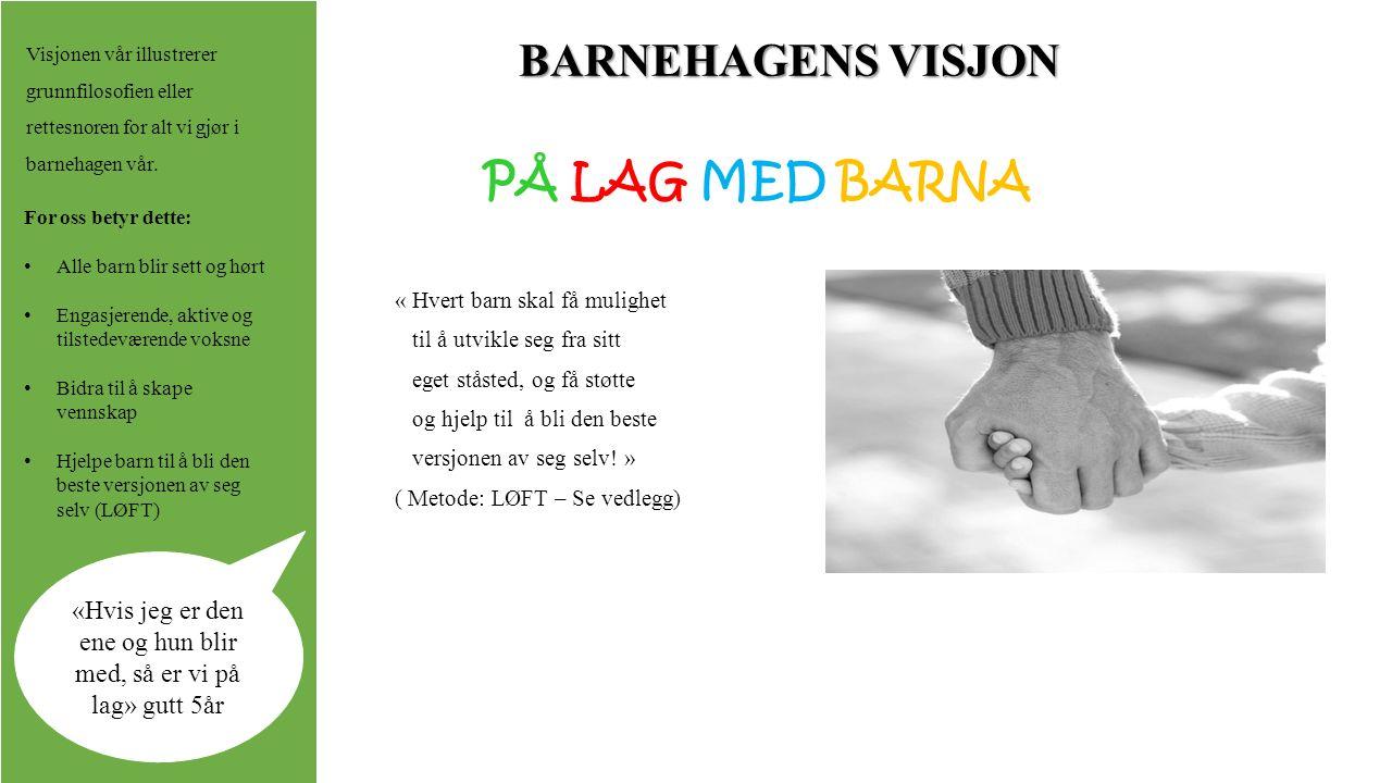 BARNEHAGENS VISJON PÅ LAG MED BARNA « Hvert barn skal få mulighet til å utvikle seg fra sitt eget ståsted, og få støtte og hjelp til å bli den beste versjonen av seg selv.