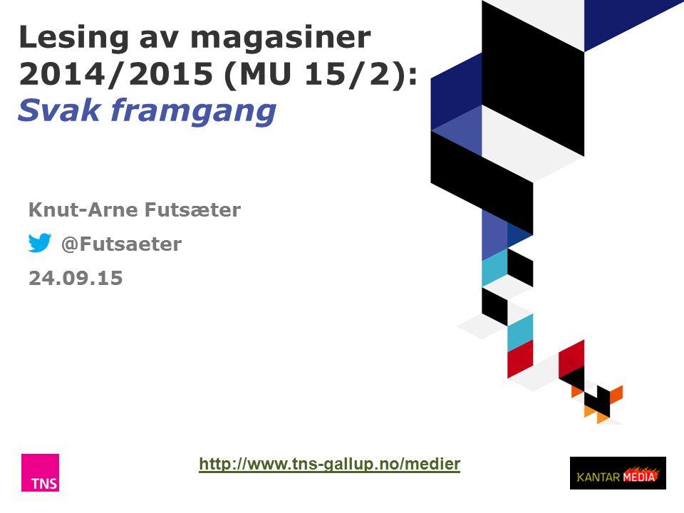 Lesing av magasiner 2014/2015 (MU 15/2): Svak framgang TNS Gallup Knut-Arne Futsæter @Futsaeter 24.09.15 http://www.tns-gallup.no/medier