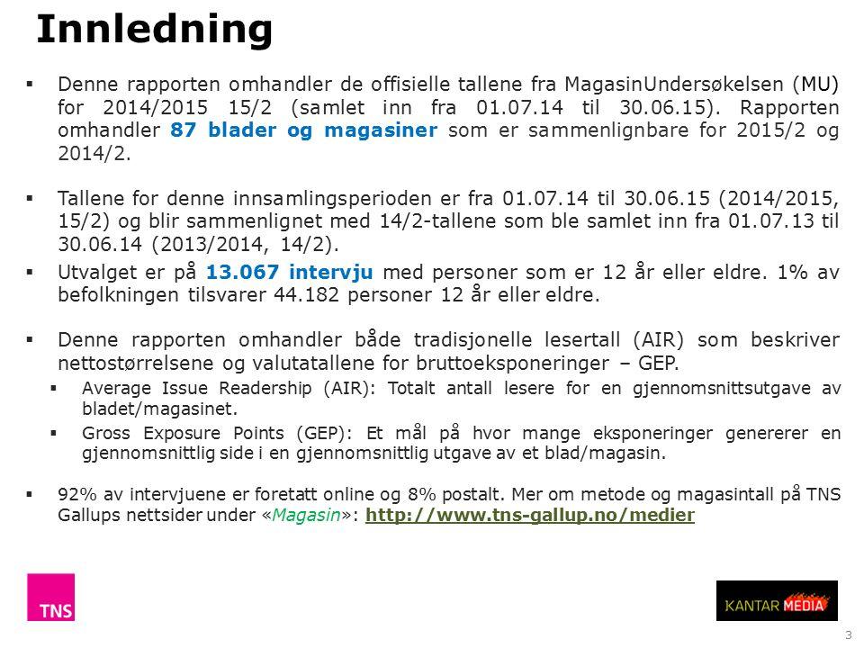 3  Denne rapporten omhandler de offisielle tallene fra MagasinUndersøkelsen (MU) for 2014/2015 15/2 (samlet inn fra 01.07.14 til 30.06.15).