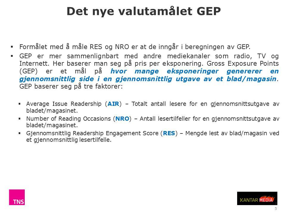 5 Det nye valutamålet GEP  Formålet med å måle RES og NRO er at de inngår i beregningen av GEP.