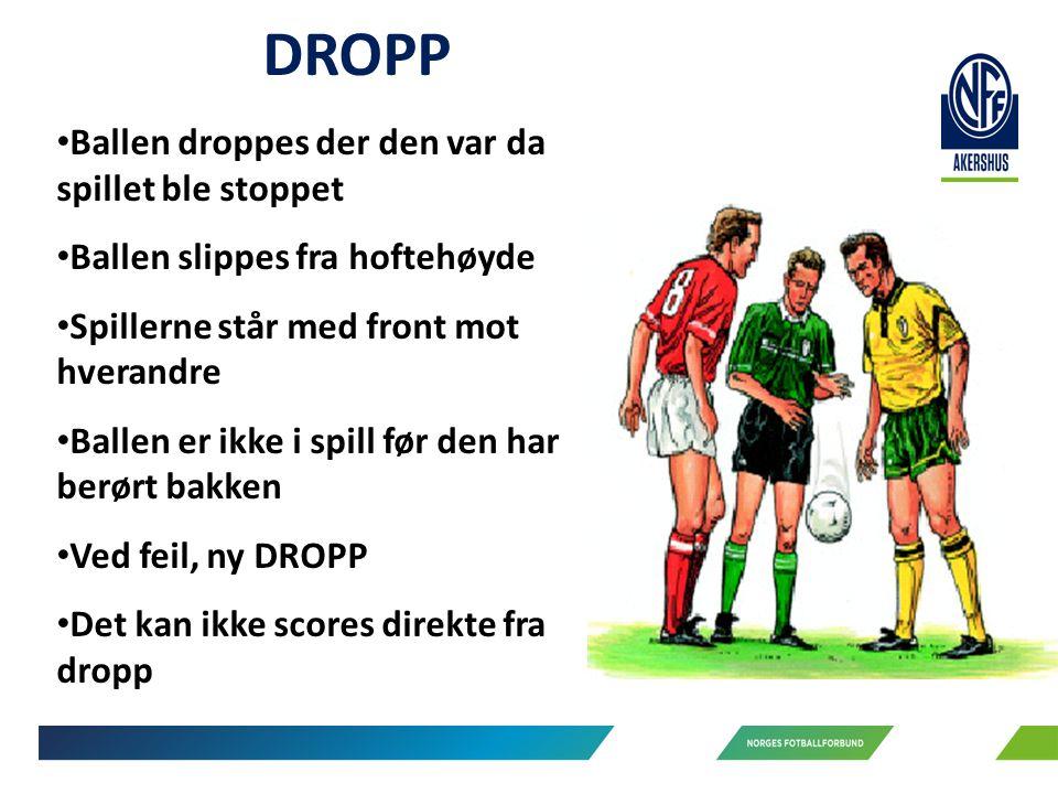 DROPP Ballen droppes der den var da spillet ble stoppet Ballen slippes fra hoftehøyde Spillerne står med front mot hverandre Ballen er ikke i spill før den har berørt bakken Ved feil, ny DROPP Det kan ikke scores direkte fra dropp