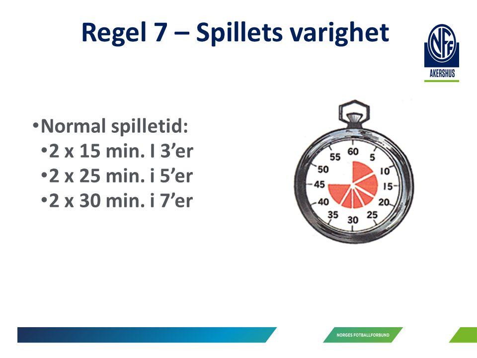Regel 7 – Spillets varighet Normal spilletid: 2 x 15 min.