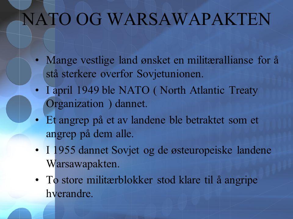 NATO OG WARSAWAPAKTEN Mange vestlige land ønsket en militærallianse for å stå sterkere overfor Sovjetunionen.