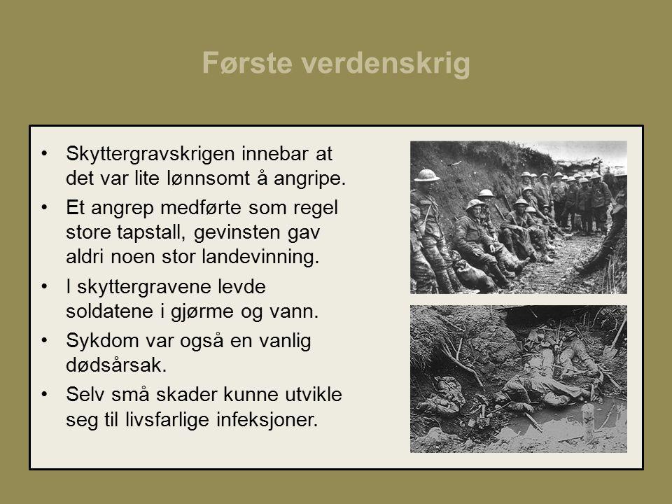 Første verdenskrig Skyttergravskrigen innebar at det var lite lønnsomt å angripe.