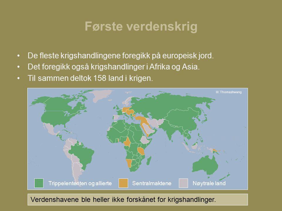 Første verdenskrig De fleste krigshandlingene foregikk på europeisk jord.