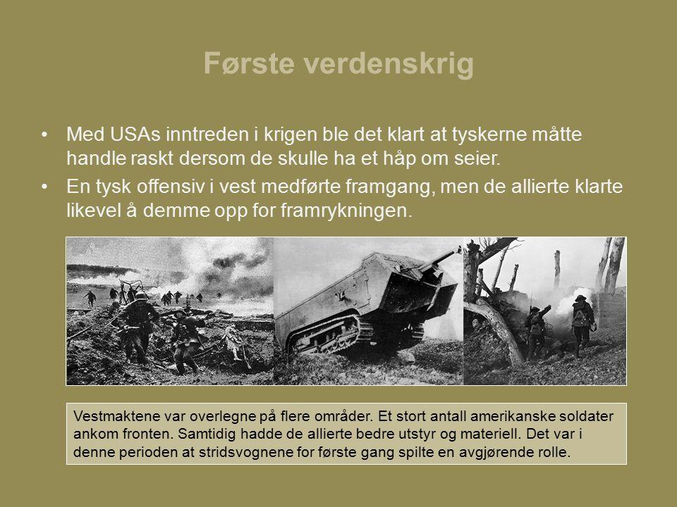 Første verdenskrig Med USAs inntreden i krigen ble det klart at tyskerne måtte handle raskt dersom de skulle ha et håp om seier.