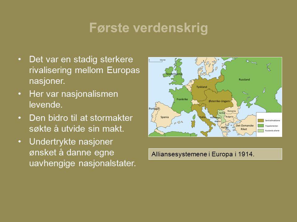 Første verdenskrig Det var en stadig sterkere rivalisering mellom Europas nasjoner.
