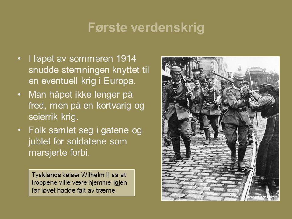 Første verdenskrig I løpet av sommeren 1914 snudde stemningen knyttet til en eventuell krig i Europa.