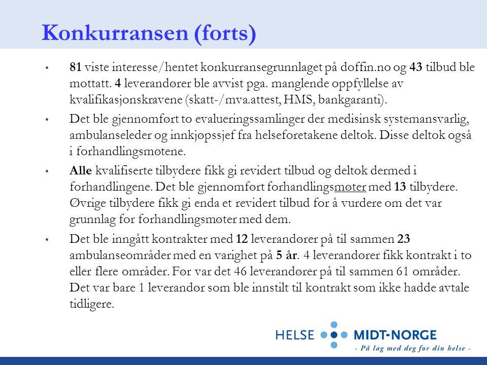 Konkurransen (forts) 81 viste interesse/hentet konkurransegrunnlaget på doffin.no og 43 tilbud ble mottatt. 4 leverandører ble avvist pga. manglende o