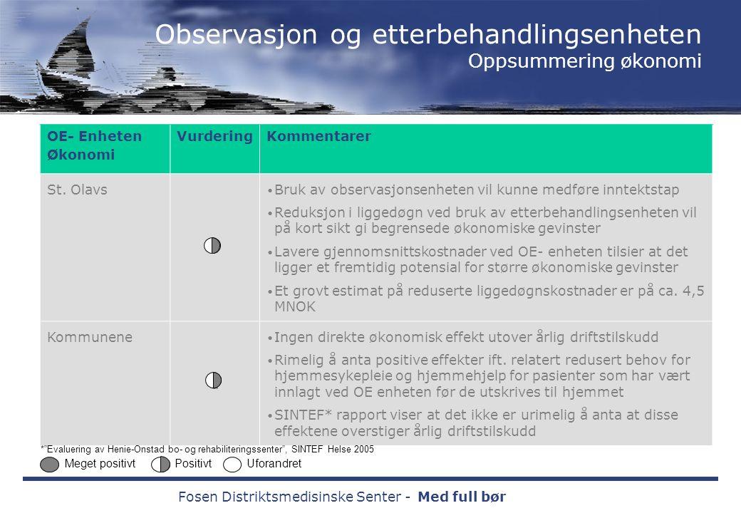 Fosen Distriktsmedisinske Senter -Med full bør OE- Enheten Økonomi VurderingKommentarer St.