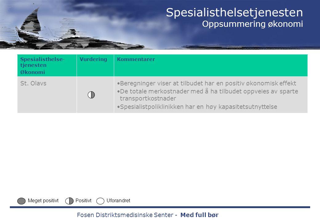 Fosen Distriktsmedisinske Senter -Med full bør Spesialisthelse- tjenesten Økonomi VurderingKommentarer St.