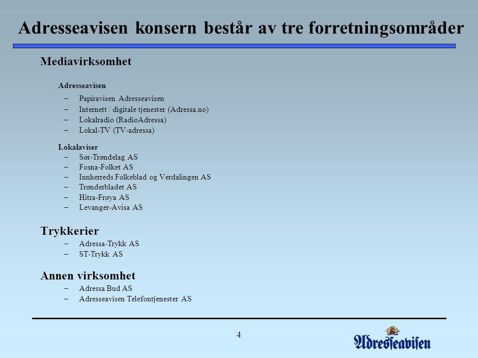 4 Adresseavisen konsern består av tre forretningsområder Mediavirksomhet Adresseavisen –Papiravisen Adresseavisen –Internett / digitale tjenester (Adressa.no) –Lokalradio (RadioAdressa) –Lokal-TV (TV-adressa) Lokalaviser –Sør-Trøndelag AS –Fosna-Folket AS –Innherreds Folkeblad og Verdalingen AS –Trønderbladet AS –Hitra-Frøya AS –Levanger-Avisa AS Trykkerier –Adressa-Trykk AS –ST-Trykk AS Annen virksomhet –Adressa Bud AS –Adresseavisen Telefontjenester AS