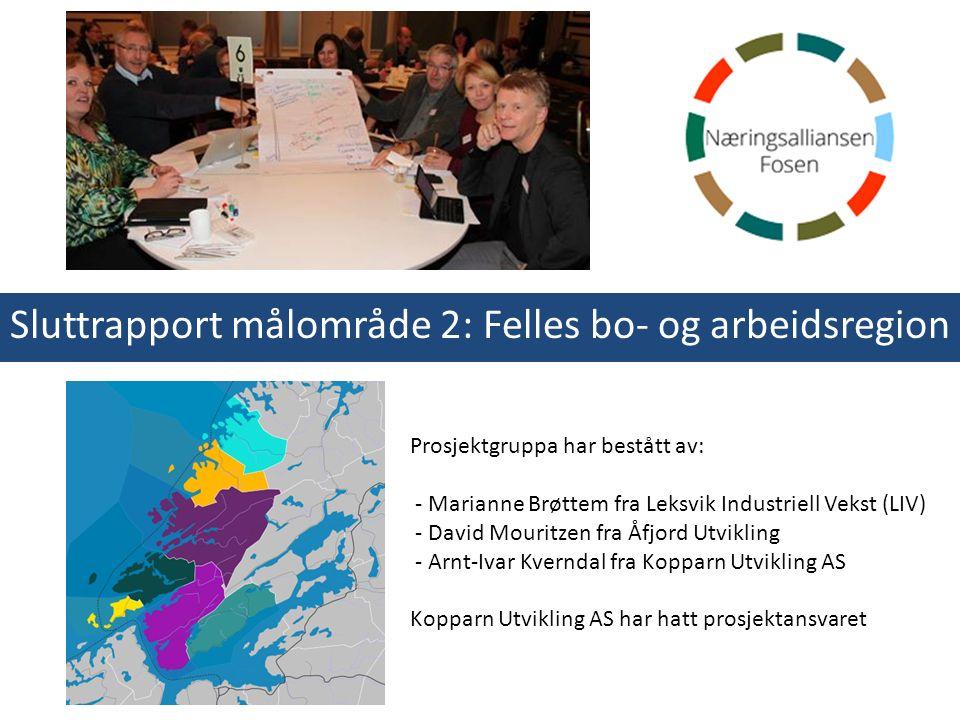 Sluttrapport målområde 2: Felles bo- og arbeidsregion Prosjektgruppa har bestått av: - Marianne Brøttem fra Leksvik Industriell Vekst (LIV) - David Mo