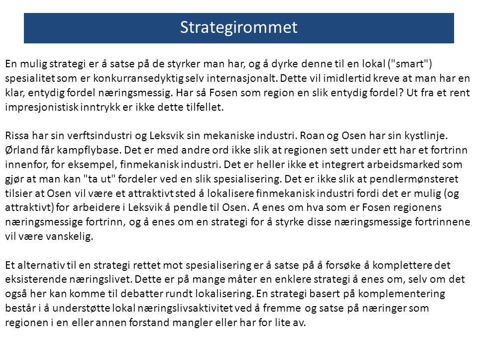 Strategirommet En mulig strategi er å satse på̊ de styrker man har, og å dyrke denne til en lokal (