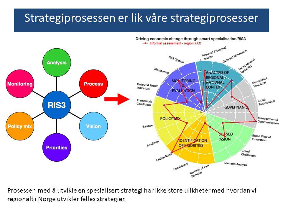 Prosessen med å utvikle en spesialisert strategi har ikke store ulikheter med hvordan vi regionalt i Norge utvikler felles strategier. Strategiprosess