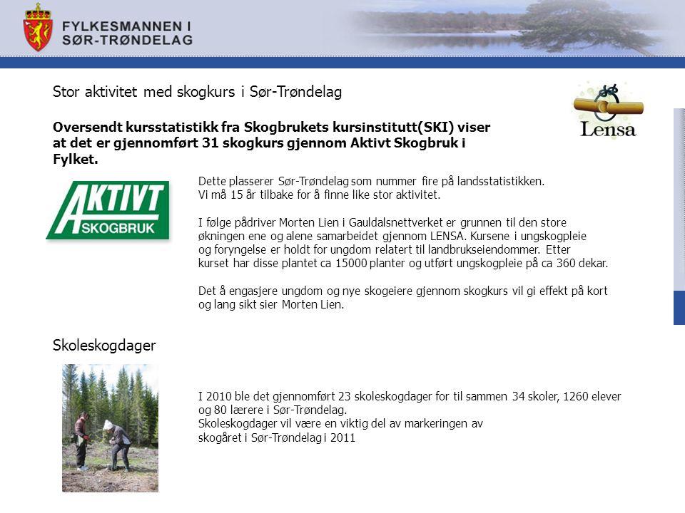 Stor aktivitet med skogkurs i Sør-Trøndelag Oversendt kursstatistikk fra Skogbrukets kursinstitutt(SKI) viser at det er gjennomført 31 skogkurs gjennom Aktivt Skogbruk i Fylket.