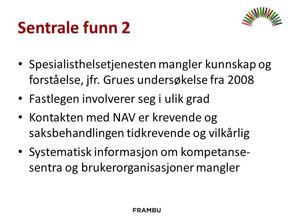 Sentrale funn 2 Spesialisthelsetjenesten mangler kunnskap og forståelse, jfr. Grues undersøkelse fra 2008 Fastlegen involverer seg i ulik grad Kontakt