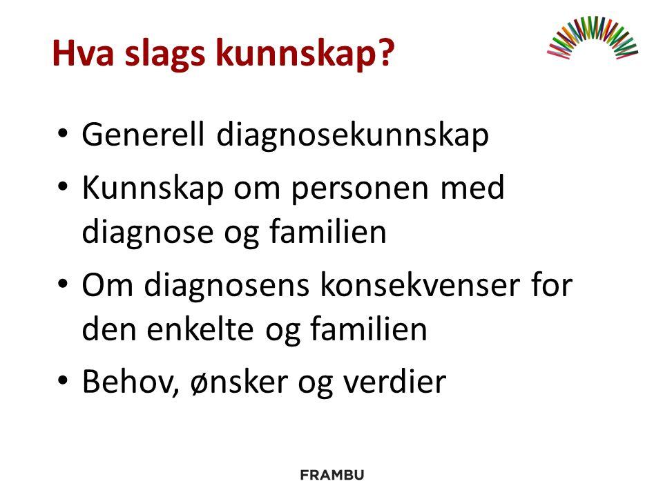 Generell diagnosekunnskap Kunnskap om personen med diagnose og familien Om diagnosens konsekvenser for den enkelte og familien Behov, ønsker og verdier Hva slags kunnskap