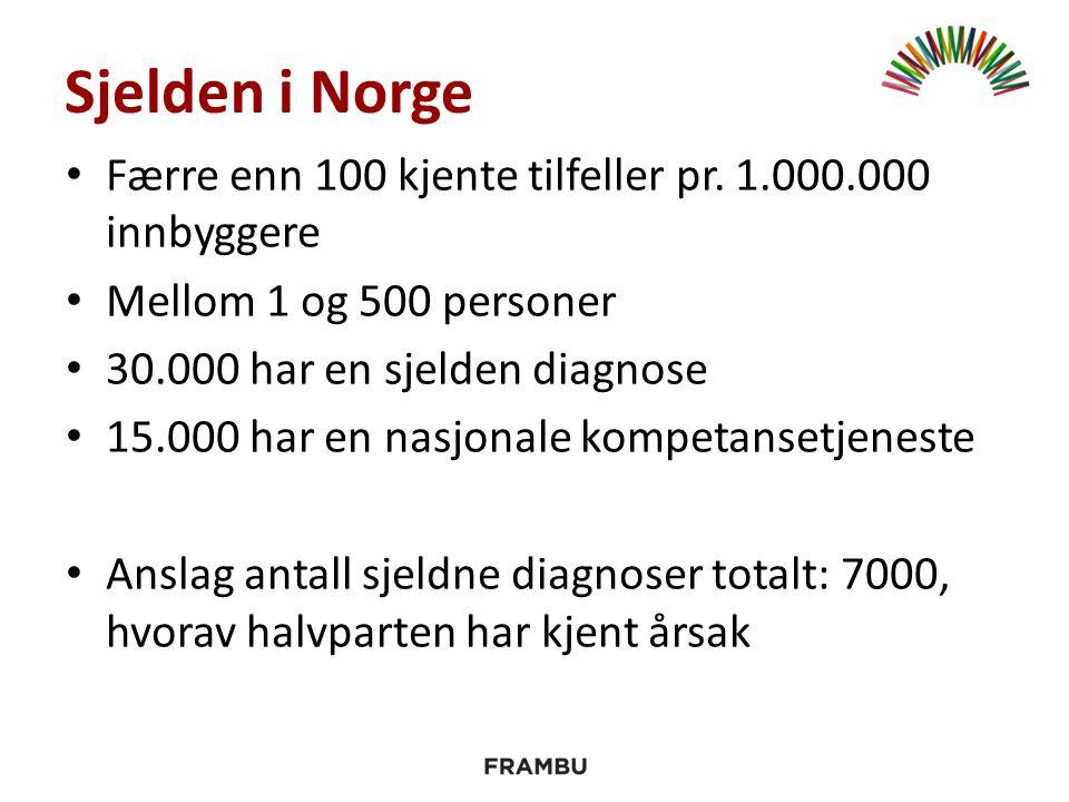 Sjelden i Norge Færre enn 100 kjente tilfeller pr. 1.000.000 innbyggere Mellom 1 og 500 personer 30.000 har en sjelden diagnose 15.000 har en nasjonal