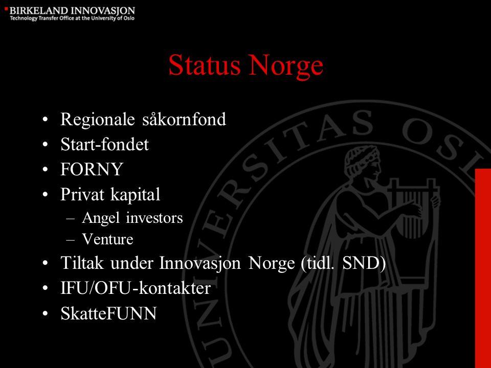 Status Norge Regionale såkornfond Start-fondet FORNY Privat kapital –Angel investors –Venture Tiltak under Innovasjon Norge (tidl.
