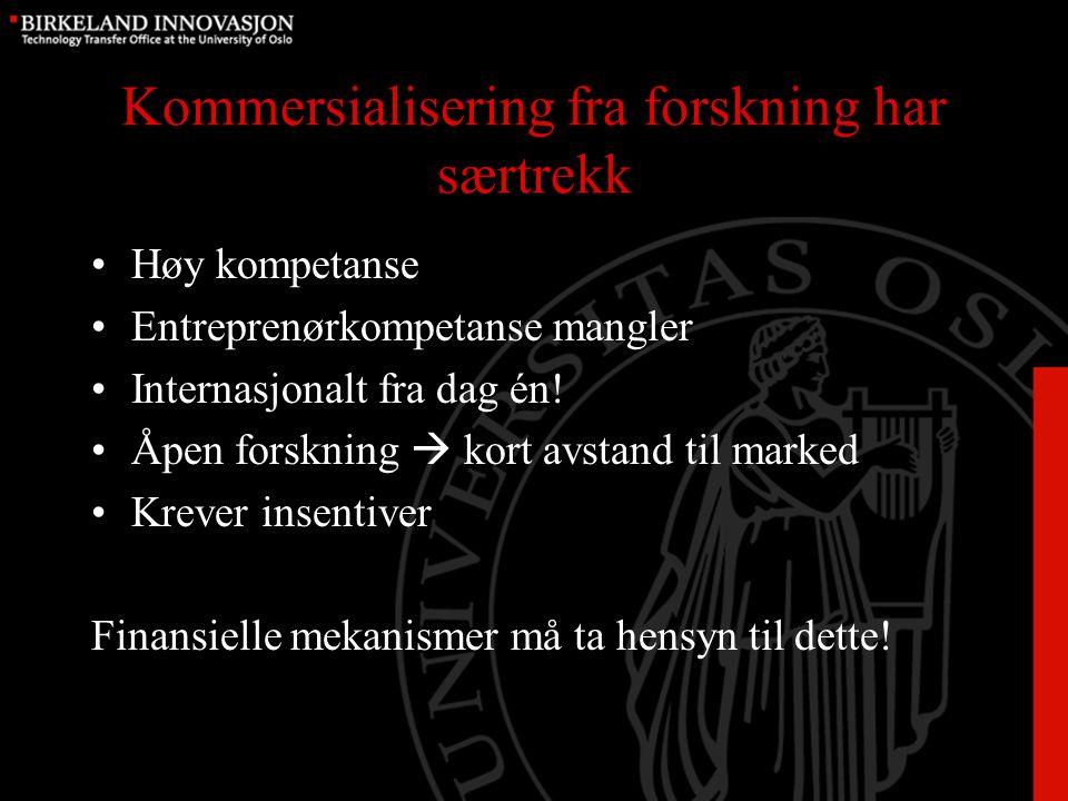 Kommersialisering fra forskning har særtrekk Høy kompetanse Entreprenørkompetanse mangler Internasjonalt fra dag én.