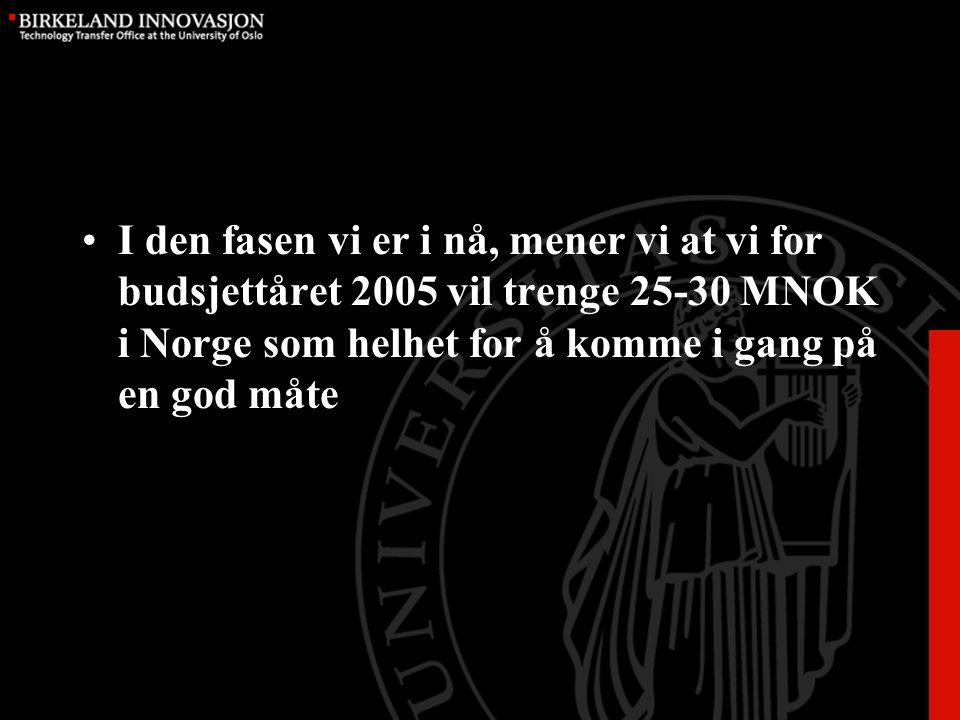 I den fasen vi er i nå, mener vi at vi for budsjettåret 2005 vil trenge 25-30 MNOK i Norge som helhet for å komme i gang på en god måte