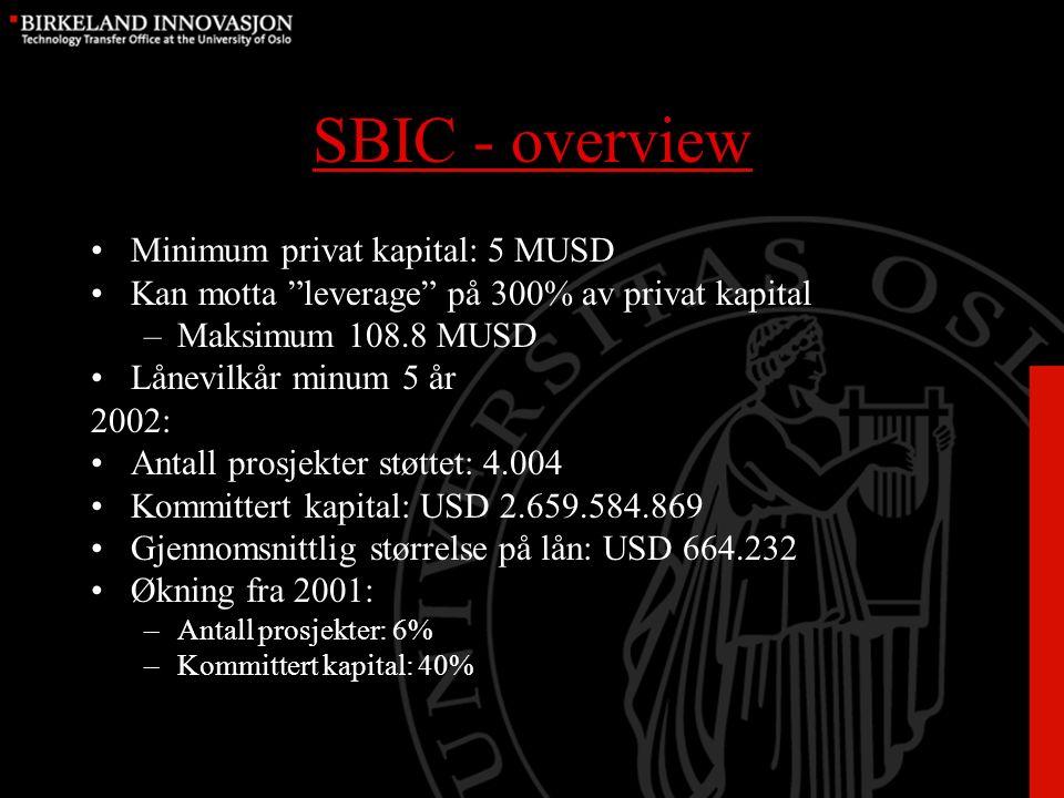 SBIC - overview Minimum privat kapital: 5 MUSD Kan motta leverage på 300% av privat kapital –Maksimum 108.8 MUSD Lånevilkår minum 5 år 2002: Antall prosjekter støttet: 4.004 Kommittert kapital: USD 2.659.584.869 Gjennomsnittlig størrelse på lån: USD 664.232 Økning fra 2001: –Antall prosjekter: 6% –Kommittert kapital: 40%