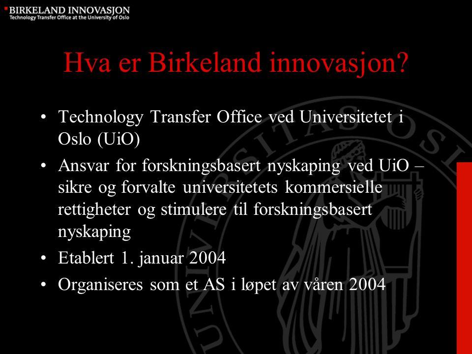 Grunnfilosofien – Birkeland innovasjon Bringe de reelle aktørene i innovasjonsprosessen sammen; –Forsker / oppfinner med teknologi/ideer/oppfinnelser egnet for kommersialisering –Entreprenører med markedskompetanse –Investorer med kapital Norsk Hydro (Kristian Birkeland, Sam Eyde og Marcus Wallenberg)