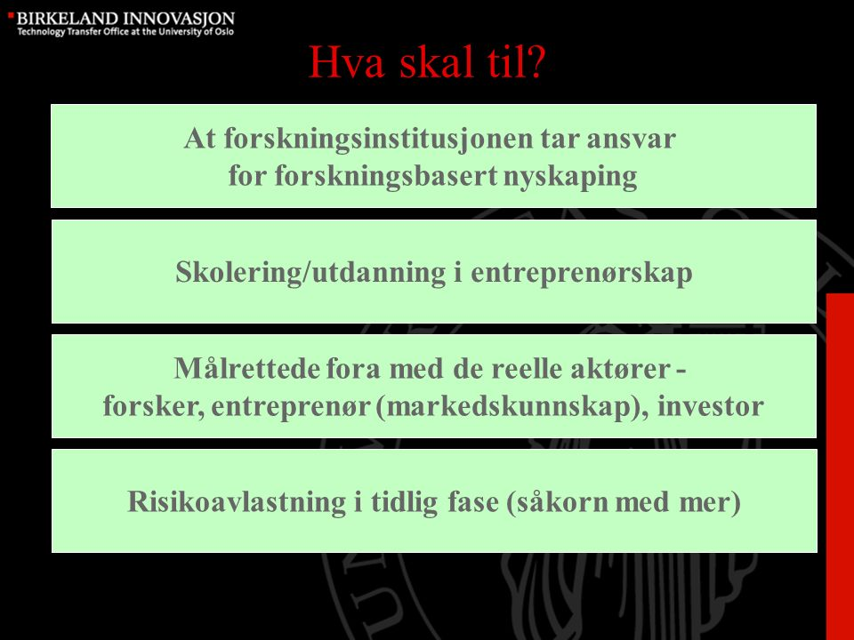 Prosessen fra forskning til marked Forskning (idé) Pre- kvalifisering Utprøving Forretnings- planer Investering Etablering ForskningUtviklingForretning Utvikling og vekst Rettighetssikring (patentering) Forvalte, foredle og selge rettigheter Utvikling og drift av nettverk Utdanning i entreprenørskap