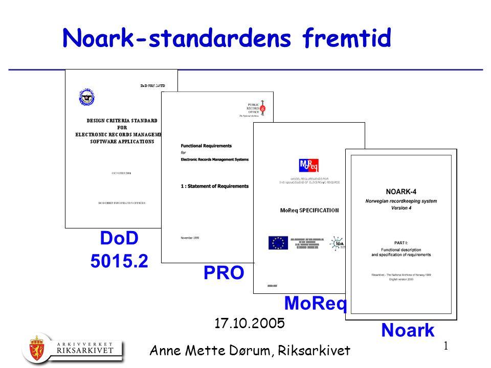 32 EU's MoReq-standard: utvikling og status  Initiativtaker: EU's DLM-Forum 1996  Spesifisert som ledd i EU's IDA-program  Tilbudskonkurranse 1999.
