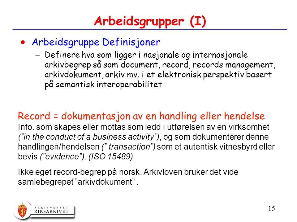 15 Arbeidsgrupper (I)  Arbeidsgruppe Definisjoner  Definere hva som ligger i nasjonale og internasjonale arkivbegrep så som document, record, records management, arkivdokument, arkiv mv.
