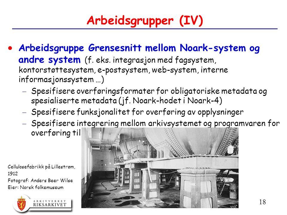 18 Arbeidsgrupper (IV)  Arbeidsgruppe Grensesnitt mellom Noark-system og andre system (f.