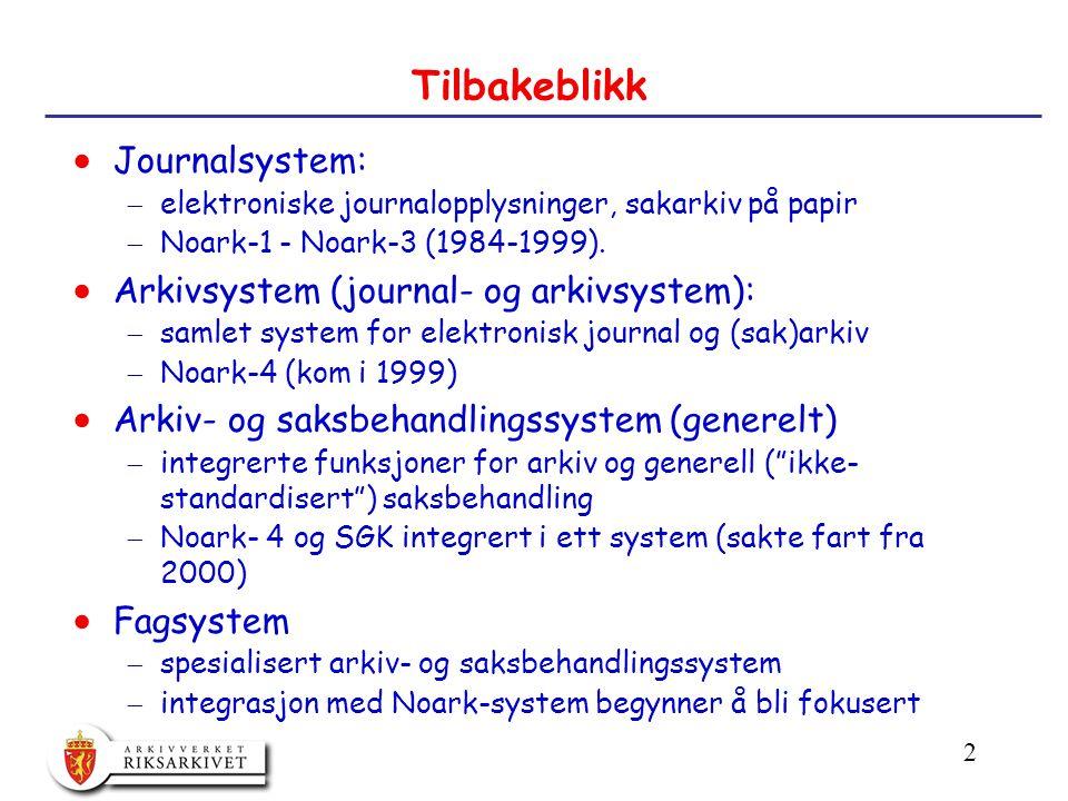 2 Tilbakeblikk  Journalsystem:  elektroniske journalopplysninger, sakarkiv på papir  Noark-1 - Noark-3 (1984-1999).