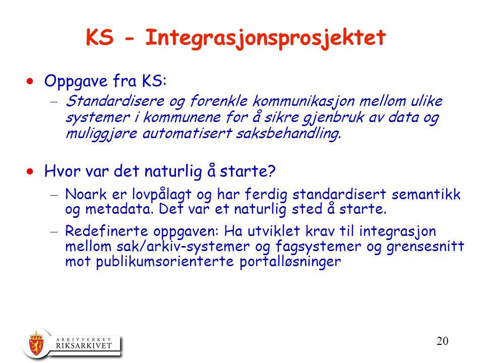 20 KS - Integrasjonsprosjektet  Oppgave fra KS:  Standardisere og forenkle kommunikasjon mellom ulike systemer i kommunene for å sikre gjenbruk av data og muliggjøre automatisert saksbehandling.