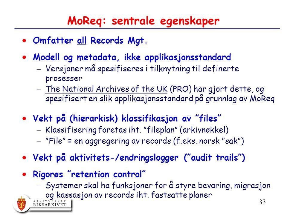 33 MoReq: sentrale egenskaper  Omfatter all Records Mgt.