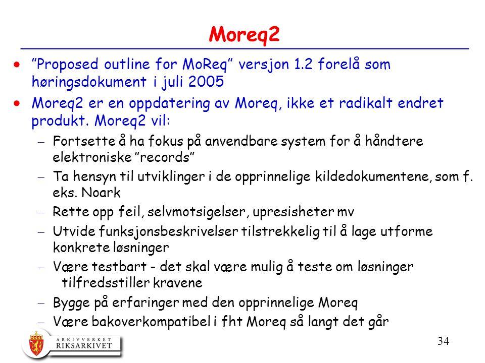 34 Moreq2  Proposed outline for MoReq versjon 1.2 forelå som høringsdokument i juli 2005  Moreq2 er en oppdatering av Moreq, ikke et radikalt endret produkt.